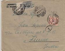 REGNO-30c bordo foglio(185)-Busta viaggiata Napoli->Fiume 8.10.1928-Tassata 40c