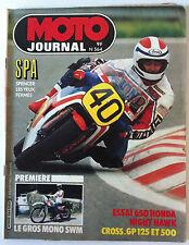MOTO JOURNAL n°564; SPA/ Gros Mono SWM/ Essai 650 Honda Night Hawk/ Cross GP 125