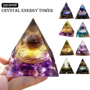 Amethyst Crystal Sphere Orgonite Pyramid Obsidian Chakra Energy Orgone Stone-✅