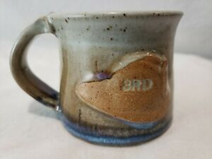 Hand Made Fireman Coffee Mug Fire Hat Stoneware Pottery Coffee Mug