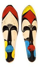 """12"""" African Cameroon Wood Fang Mask Multicolor"""