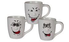 Kaffeebecher XXL 750 ml mit Henkel Porzellan Weiß Smiley Face Gesichtern 3 Stück