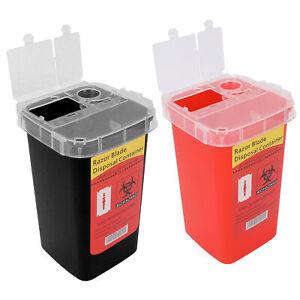 Barber Razor Blade Disposal Tin Bank Container Waste Box Medical Needle Bin Case