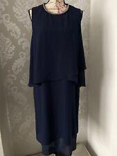 Womens Bonmarche Size 16 Midnight Blue Layered Dress Pretty Neckline Races Wed
