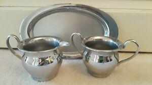 Vintage Farberware Stainless Steel Sugar and Creamer Set w/Tray