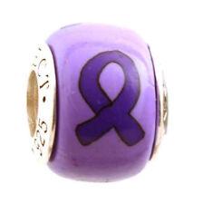 Purple Ribbon Alzheimer's Epilepsy Lupus Cancer Bead Charm Add-a-Bead Bracelet