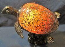 Sea Turtle amber Mosaic Glass & Resin Lamp Nautical Home Decor