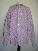 MARC ECKO Cut and Sew Navy Red White Checkered Long Sleeve Dress Shirt Sz XXL