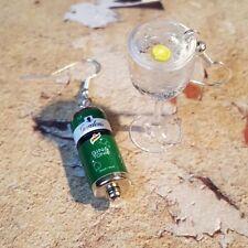 Fatto a mano Gin & TONIC Orecchini Gordons in Miniatura in vetro asimmetrico può ICE LEMON