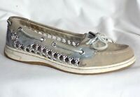 SPERRY TOP-SIDER Boat Shoes Womens sz 8 Angel Fish Silver Caned Woven