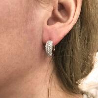 1.5 ct tw Natural Diamond Solid 14k White Gold Huggie Wide Hoop Earrings (17 MM)