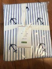 Pottery Barn Anchor Stripe Sheet Set Queen Organic Cotton Sea Blue