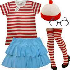 Women's Red White Stripy Fancy Dress Outfit Find Me Book Week Costume