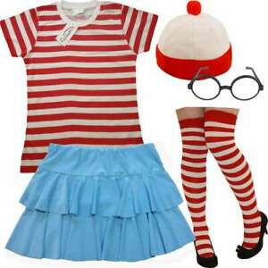 Find Me Women's Costume: Stripe Hat Skirt Fancy Dress Party World Book Character
