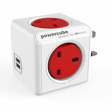 Allocacoc PowerCube UK Plug In Power Adapter with 4-Way Socket and USB - Red