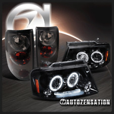 Ford 2004-2008 F150 Glossy Black Halo Projector LED DRL Headlights+Tail Lamp
