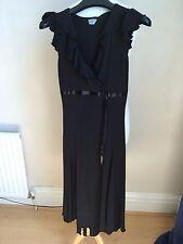 Oasis Ruffle Neck Black Dress size 8