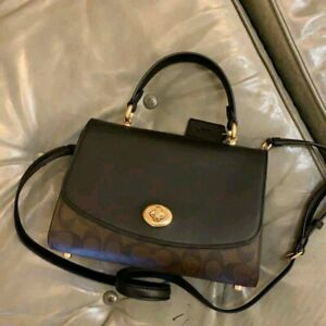 Coach Tilly Top Handle Satchel F76620 Signature Brown/Black