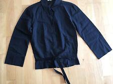 JIL SANDER Black Cotton Tie Waist Shirt Blouse EU 34 UK 6