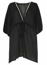 Evans Black Kaftan Beach Cover Up BNWT Size Large (Size 26,28,30,32)