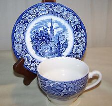 Vintage Staffordshire Liberty Blue Tea Cup & Saucer Paul Revere England PO