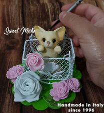 CHIHUAHUA DOG spring CHI PUP COLLECTIBLE HANDMADE polymer clay ORIGINAL OOAK