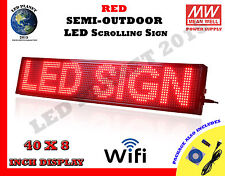 Red 40x8 Inch Semi Outdoor Led Scrolling Programmable Sign Usb Wifi Mobile App
