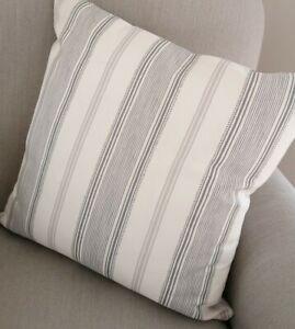 REVERSIBLE Laura Ashley Heacham Stripe Grey Fabric Cushion Cover