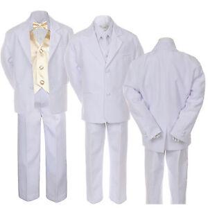 7pc Baby Toddler Boy White Formal Wedding Party Suit Tuxedo Vest Bow Tie sz S-7