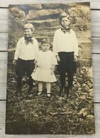VINTAGE REAL PHOTO POSTCARD THREE CHILDREN RPPC