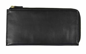 Ralph Lauren Collection Black Leather Zip Travel Wallet New