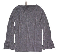 J Crew - Womens XL - NWT - Charcoal Sparkle Bell Sleeve Glitter Tee/Knit Top