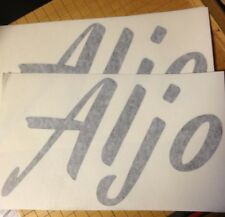Aljo Vintage Travel Trailer decals die cut Black Modernistic Gardena Calif 2for1