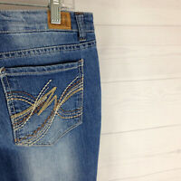 LEI Ashley womens size 13 stretch blue faded medium wash low rise bootcut jeans