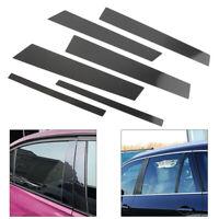 6pcs Car Window B Pillar Trim Cover For BMW 3 Series E90 2005-2012 Carbon Fiber