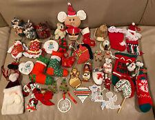 Vintage Christmas Ornament LOT Felt Hallmark Mouse Cross Stitch Russ Soldier