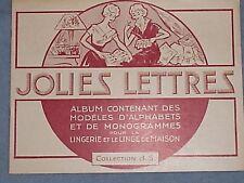 """ANCIEN ALBUM POUR BRODERIE MONOGRAMMES /""""JOLIS LETTRES""""/COLLECTION J.S./1958"""