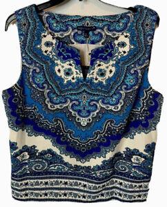Nwt Talbots RSVP Blouse Festive Paisley Sleeveless Top Blue Purple Size 12