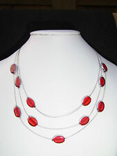Collier 3 reihige Kette rot/silber Ovale Elemente Stahlseil