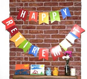Happy Retirement Bunting Banner Garland Birthday Party Decoration Multi Colour