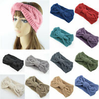 Bow Twisted Wide Headband Turban Warmer Ear Crochet Knitting Stretch Headwrap G