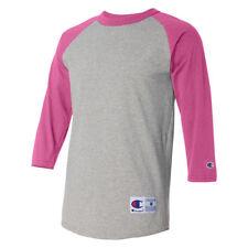 67d97f60 Champion - Raglan Baseball T-shirt for Men- T137 Oxford Grey/ Charity Pink