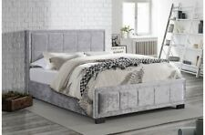 Stunning And Stylish Steel Crushed Velvet Bed Frame With Cushioned Headboard 5FT