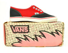 Vintage 1980'S Vans Lace Deck Black & Red Sneakers Sz.9 7.5M! Made In Usa,Og,Era