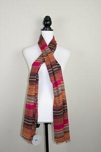 "Kushi 100% Cotton Women's Multicolour Sunset Stripe Long Scarf | BNWT 70"" x 20"""