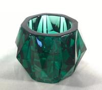 Collectible Teal/Dark Green Heavy Glass Candle Holder / Tealight / Votive