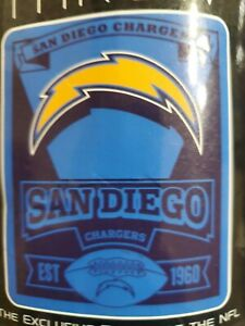 "San Diego Chargers 50""x60"" fleece blanket NIP"