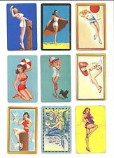 Playing  Card  SAMPLE  -  BLANK  back  - lot of 9  -  PIN - UP  Bathing Beauty