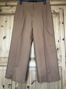 marks and spencer Tan Wide Leg Coullots Trousers Size 12 Worn Once