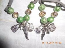 HANDBAGS/FEATHER CHARM NECKLACE+BRACELET SET-DOUBLE CORD-GIFT BAGGED+TAG